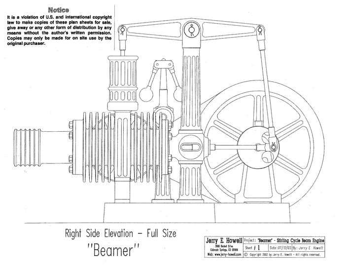 Beamer stirling cycle beam engine plans for Stirling engine plans design blueprints