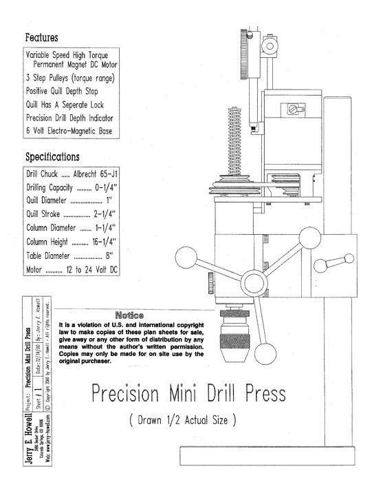 Micro Drill Press Plans
