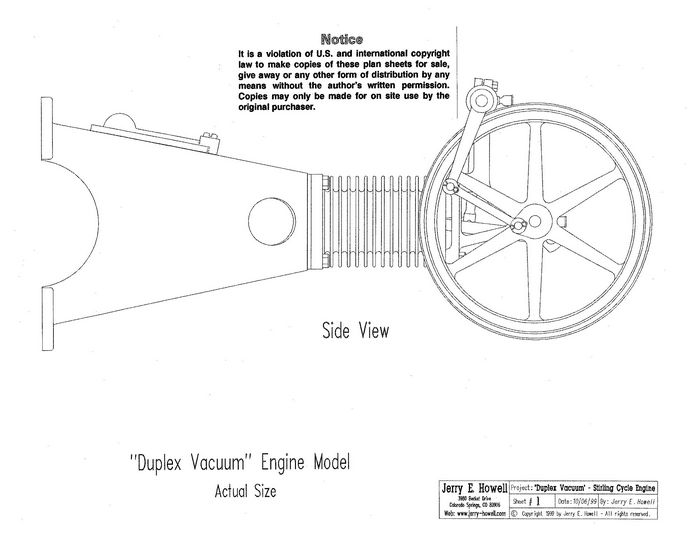 Duplex engine plans for Stirling engine plans design blueprints