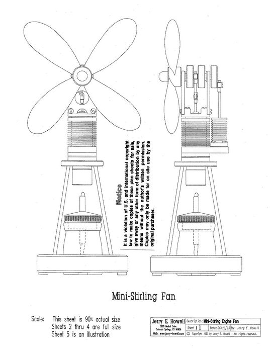 Mini stirling engine fan plans for Stirling engine plans design blueprints