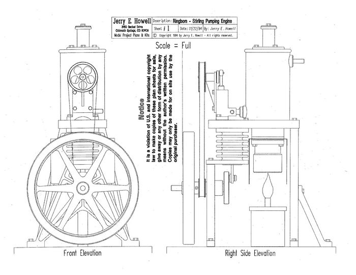 Ringbom stirling cycle pumping engine plans for Stirling engine plans design blueprints
