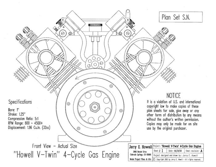 Howell V-Twin 4-Cycle Gas Engine Plans